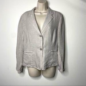 Peserico grey linen 2 button long sleeve blazer 44